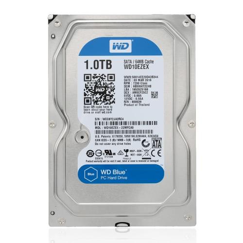 Western Digital WD Blue 1TB Desktop-Festplatte interne Festplatte 5400rpm SATA 6Gb/s 64MB Cache 3,5-Zoll-WD10EZEX