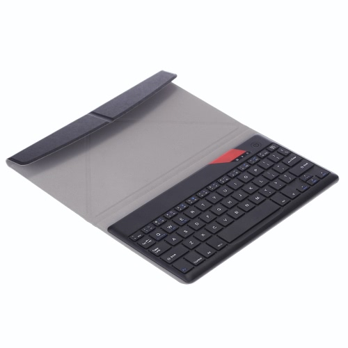 KKmoon 9 Inches Black Ultrathin 4mm Wireless Bluetooth Keyboard with Folding Foldable Magnetic PU Leather Case Cover Stand Holder for iPad Pro/mini/Air/Tablet/PC/Smartphone