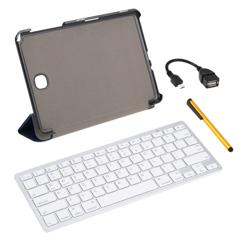 Wireless Bluetooth Keyboard+ PU Leather Case Cover Stand Holder +Stylus Pen +OTG Cable Protective Film