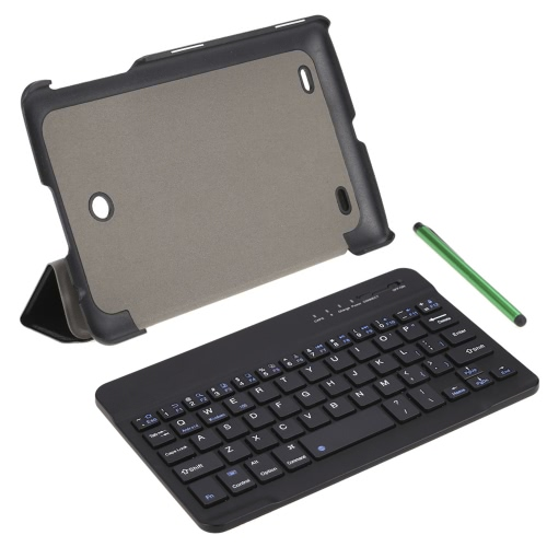 Wireless Bluetooth Keyboard with  PU Leather Case Cover Stand Holder and Stylus Pen
