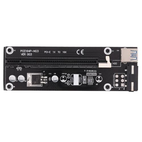USB 3.0 PCI-E PCI Express 1x a 16x Extender la tarjeta vertical de adaptador de tarjeta con cable USB de alimentación SATA Cable &