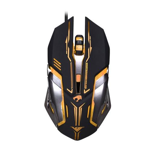 Rajfoo Esport Gaming Mouse Macro ergonômico Botões programáveis 6D Ratos 4000DPI respirando luz LED USB com fio para Gamers Pro