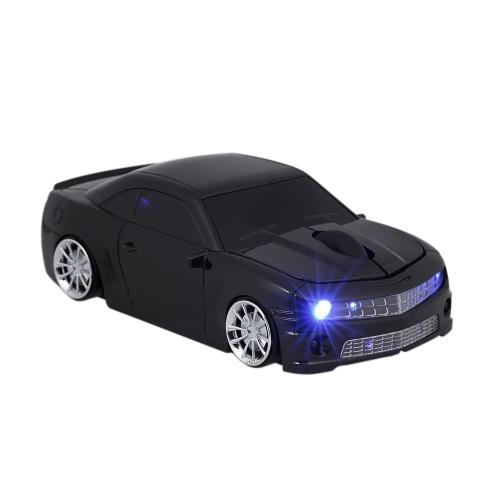 2.4G Mouse de carro sem fio USB Computador Mouses Car Shape 1000 DPI com LED Light Receiver para PC Laptop Black