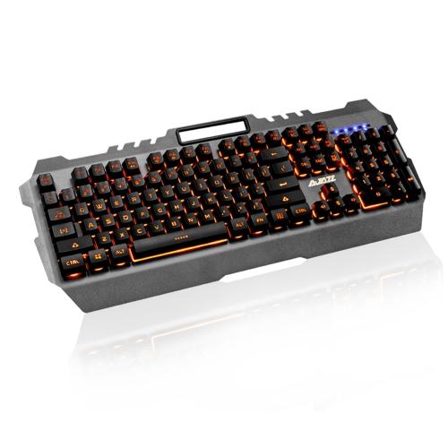 AJAZZ USB Wired Gaming Mechanizm klawiatury mechanicznej Żółty podświetlenie Wodoodporny panel ze stopu 104 klawisze do gry Office Black