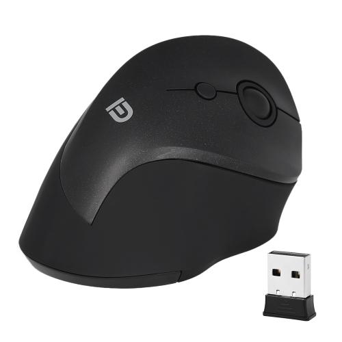FD 2.4G فأرة لاسلكية USB استقبال مريح ماوس بصري العمودي مع 3 DPI قابل للتعديل لأجهزة الكمبيوتر المحمول سطح المكتب أسود أسود