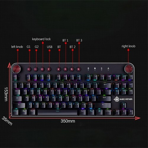 MAGIC-REFINER MK11 Mechanical Gaming Keyboard Wired USB and Wireless BT 3.0 RGB Backlight Switchable 87 keys Gaming Keyboard for Computer Gamer