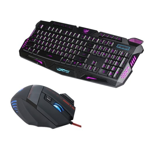 J20 Gaming Keyboard Mouse Combo  Adjustable DPI Colorful Backlit