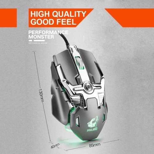 USB Wired Competitive Gaming Mouse Mechanical Game Mice Adjustable 6400DPI 8 Buttons LED Lighting Mouse V15 Black