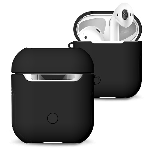 TPU Silicone Earphone Case Protective Cover for Airpods Shockproof Waterproof Protector for Apple AirPods AirPod Accessories Frosted Surface(Black)