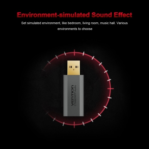 VENTION USB External Sound Card with 3.5mm Stereo Earphone Mic Adapter HIFI 7.1 Soundtrack Driver-free for PUGB PC Laptop PS4 Black