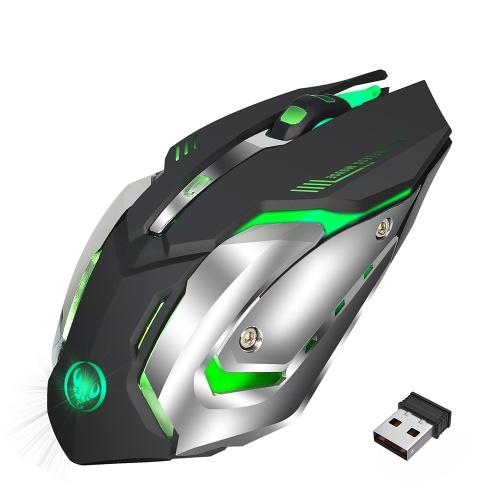 HXSJ M10 Wireless Mouse 2400 DPI Ricaricabile 7 colori 6 Retroilluminazione