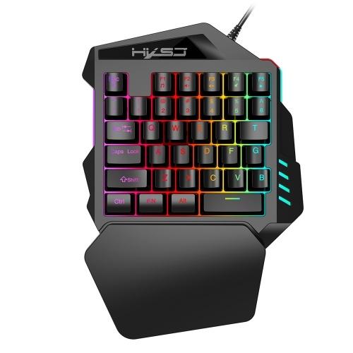 HXSJ V100 35-Tasten-Einhandmembran Mini 35-Tasten-Gaming-Tastatur mit USB-Kabelersatz für PUBG LOL CS Gamer