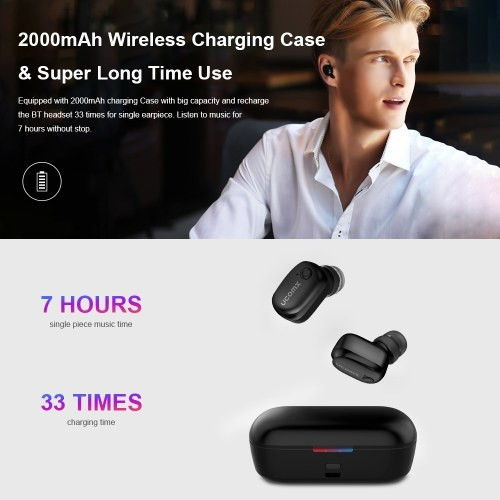 UcomX U6H Pro TWS BT5.0 Wireless Earbuds Mini In-Ear Earphone Stereo with Built-in HD Microphone Mic and Portable Charging Case for iOS Android Windows(Black)