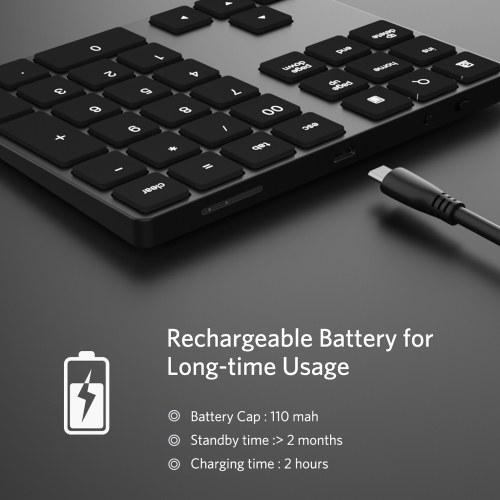 Беспроводная цифровая клавиатура Алюминиевая 34-клавишная клавиатура BT Встроенная аккумуляторная клавиатура для Windows / iOS / Android (черный) фото