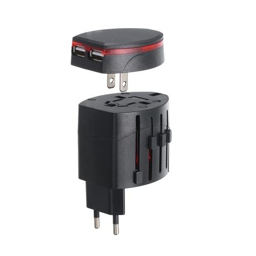 Adaptador de viagem universal Adaptador versátil do mundo de viagens USB Power Adapter versátil com 2 USB para UK / EUA / UE / AU 150+ Países Plug (Black)