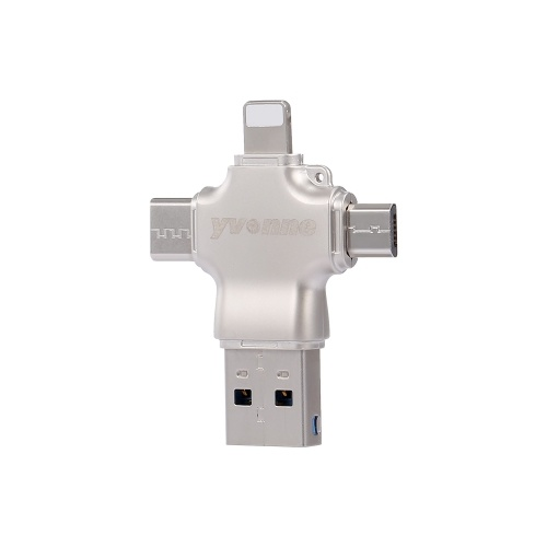 yvonne Y23 USB3.0 U-Festplatte 128 GB USB-Typ-C-Vier-in-Eins-Hochgeschwindigkeits-OTG-U-Festplatte für Telefon / PC / Laptop Silber