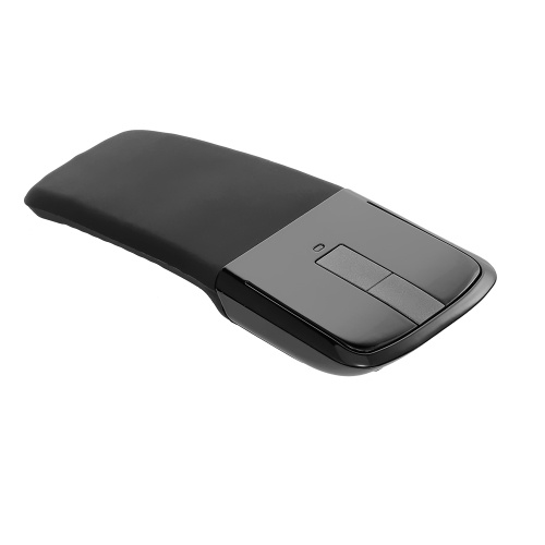 2.4G Ratón inalámbrico con USB Arco Ratón con función táctil Ratones ópticos plegables con receptor USB Ratón doblado para PC portátil (Negro)