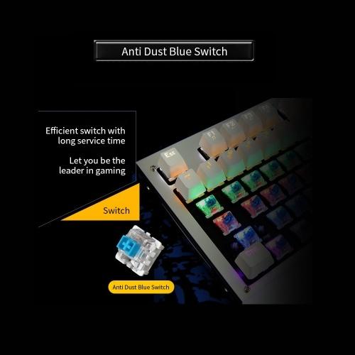 Механическая игровая клавиатура с подсветкой Blue Switch 87 клавиш Эргономичная клавиатура Подвесные клавиши с ручным запястьем (черный) фото