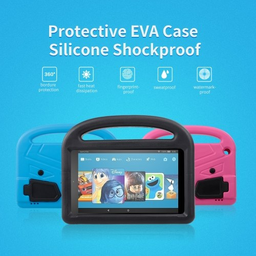 Protective EVA Case for Amazon HD8 2016/2017 Silicone Shockproof Handle Case Screen Protector Kids-friendly (Black)