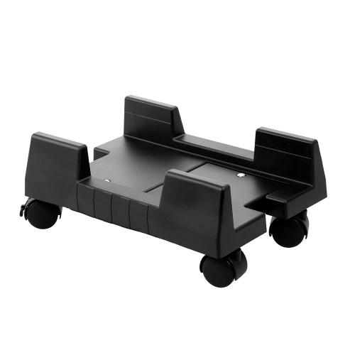 Supporto per torre per PC desktop mobile regolabile con ruote da pavimento con ruote regolabili (nero)