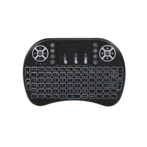 Air Mouse-Tastatur 2,4 G Wireless RF-Fernbedienung Hintergrundbeleuchtete Multimedia-Fernbedienung Touchpad Wiederaufladbare Combos Handheld-Tastatur (Schwarz)