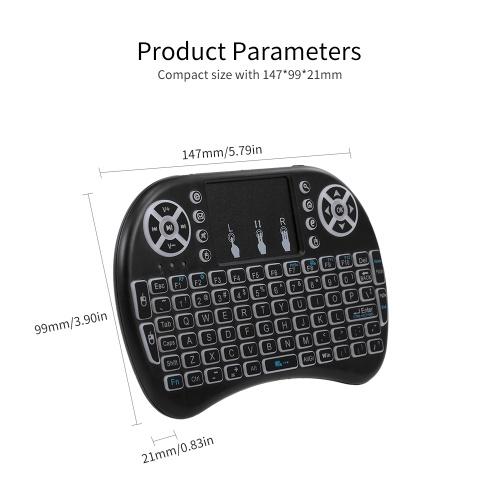 Air Mouse Keyboard 2.4G Беспроводной пульт дистанционного управления с подсветкой Мультимедиа Пульт дистанционного управления Сенсорная панель Аккумуляторные комбинации Ручная клавиатура (черный) фото