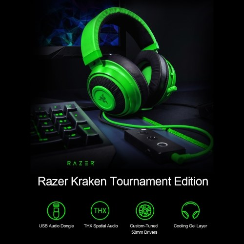 Razer Kraken Tournament Edition Gaming Headset Headphone Earphone THX Spatial Audio Full Audio Control Cooling Gel Game/Chat Balance with USB Dongle Black