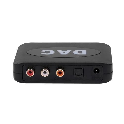 Digital-Analog-Audio-Konverter Glasfaser-Koaxialkabel Digital-Audio-Signal-Stereo-Analog-Signal-Audio-Konverter mit Fernbedienung Schwarz