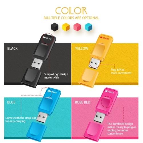 KODAK K232 Slim U Disk Portable USB 2.0 On-Vehicle Anti-lost USB Drive Waterproof Mini Size High-speed Transmission 64GB Black