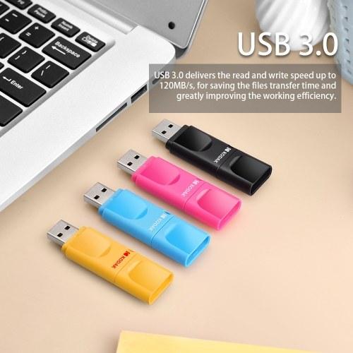 KODAK K233 Slim U Disk Portable USB 3.0 High-speed Transmission On-Vehicle Anti-lost USB Drive Waterproof Mini Size With Independant Dust Cover 16GB Black