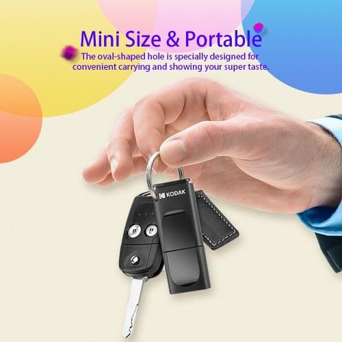 KODAK K233 Slim U Disk Tragbares USB 3.0-Hochgeschwindigkeitsübertragungssystem im Fahrzeug Anti-Verlust-USB-Laufwerk Wasserdichte Mini-Größe Mit unabhängiger Staubschutzhülle 64 GB Schwarz