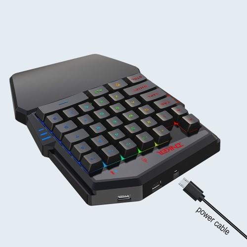 HXSJ K99 Эргономичная клавиатура и мышь Combo Набор одноручных игровых клавиатур и мышей 35 клавиш BT4.2 Беспроводная клавиатура + проводная игровая мышь с дышащей подсветкой Клавиатура и мышь Combo Black фото