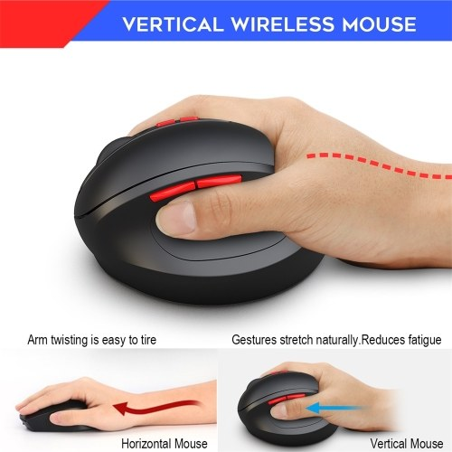 HXSJ T33 2.4GHz Vertical Wireless Mouse 7 Keys 2400DPI Mice Wireless Ergonomics Mouse for PC Laptop(Black)