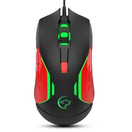 YWYT G837 Mouse da gioco con cavo ottico 4 Mouse da gioco USB DPI regolabile 3200 DPI con luce respiratoria colorata