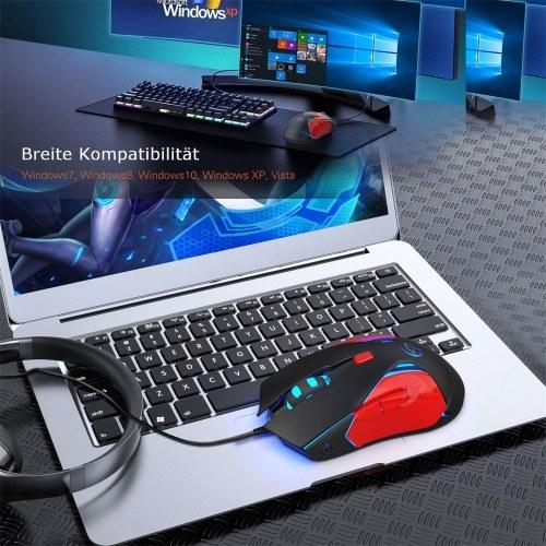 YWYT G837 Optische kabelgebundene Gaming-Maus 4 einstellbare DPI 3200DPI USB-Gaming-Maus mit buntem Atemlicht
