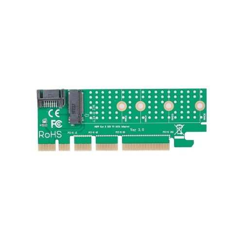 NGFF M.2 B Key SATA-Bus SSD to SATA3 Adapter Converter Card PCI Express Slot with Heatsink SATA Cable Supports 2230 2242 2260 2280 M.2 SSD (Black)