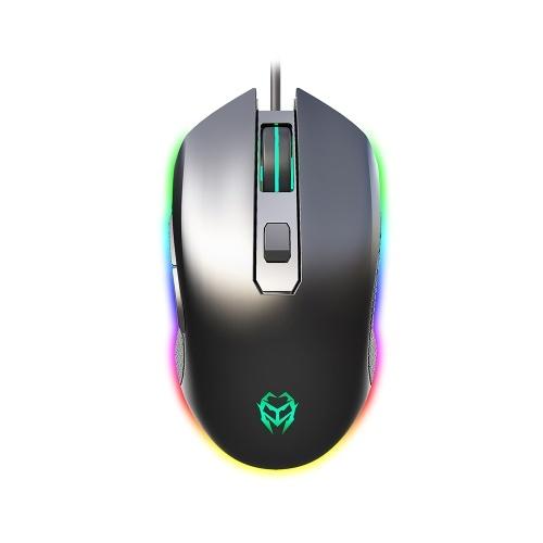 Kingangjia G530 Optical Esport Gaming Mouse Adjustable 6400DPI LED Breathing Light USB Wired Mouse for Mac Laptop PC