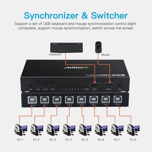 8 porte Sincronizzatore USB Tastiera DNF Mouse Controller di sincronizzazione display condiviso USB Switcher KVM Nero