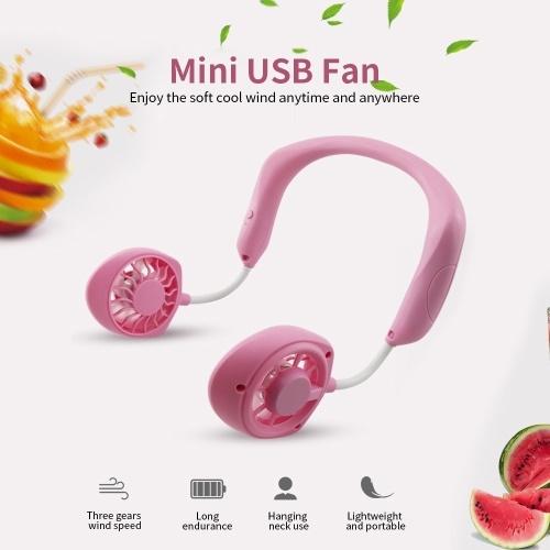 Portable Hanging Neck Fan Mini Portable USB Rechargeable Fan 3-gear Wind Speed 360° Rotation Fan Black