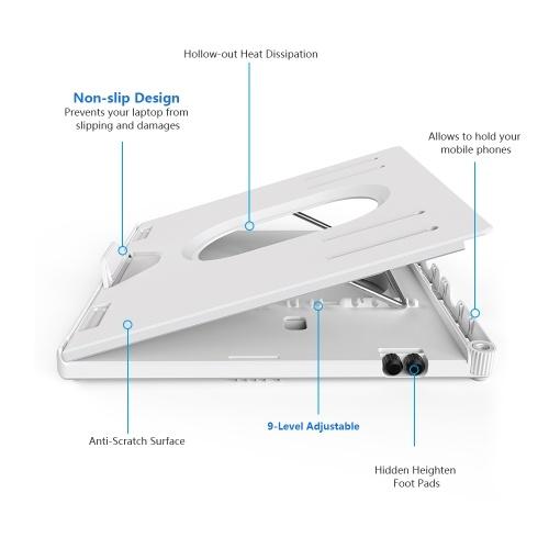 Olmaster HY-AP9001-B 9-уровневая регулируемая подставка для ноутбука Складная переносная нескользящая подставка Держатель выдвижной теплоотвод для 12-17 дюймов мобильных телефонов / ноутбуков / планшетных ПК с подставкой для ног фото