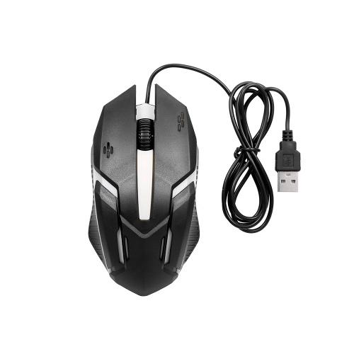 CM-818 Kabelgebundene optische Maus Gaming Mouse 1200 DPI USB Gaming Mouse Ergonomische Maus mit farbenfrohem Atemlicht Schwarz