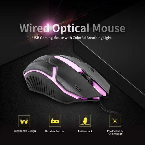 CM-818 Проводная оптическая мышь Игровая мышь 1200DPI USB Игровая мышь Эргономичная мышь с цветным дышащим светом Черный фото