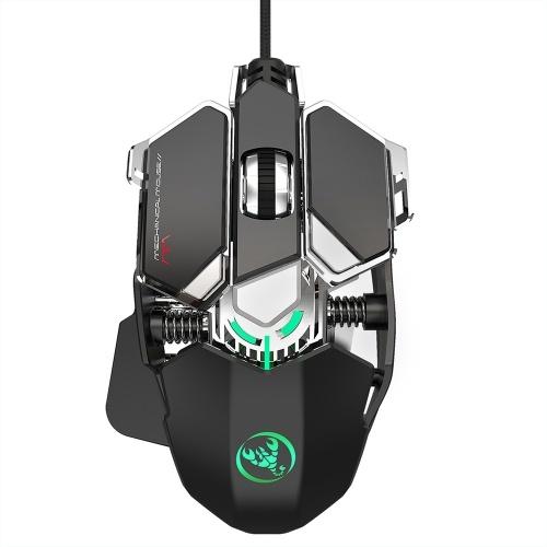 HXSJ J600 Mouse da gioco cablato Mouse di programmazione macro a nove tasti