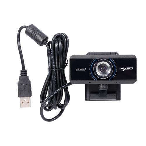 HXSJ S4 HD 1080P Webcam Messa a fuoco manuale Videocamera Microfono incorporato Videocamera Videocamera Web per PC Nero