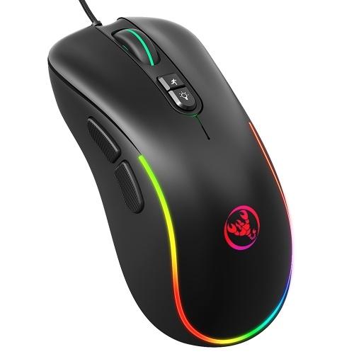 HXSJ J300 Souris de jeu filaire Souris de programmation macro à sept touches Six DPI réglable Coloré RGB Gaming Mouse Noir