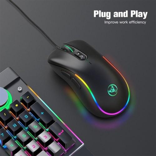 HXSJ J300 Wired Gaming Mouse Makro-Programmiermaus mit sieben Tasten Sechs einstellbare DPI-Farben Bunte RGB-Gaming-Maus Schwarz