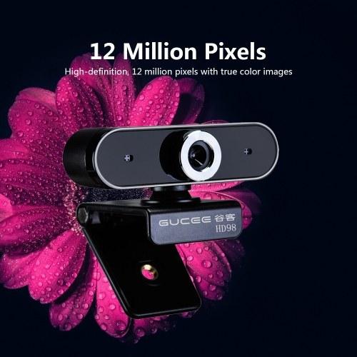 GUCEE HD98 Webcam 12MP Fuoco manuale Videocamera Web Microfono incorporato Fotocamera Plug & Play senza drive per laptop desktop Nero