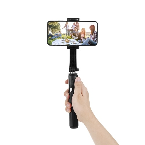 L08 Gimbal Stabilisateur Selfie Stick Trépied BT4.0 Sans Fil En Alliage D'aluminium Pliable Selfie Stick Trépied pour Smartphone Noir
