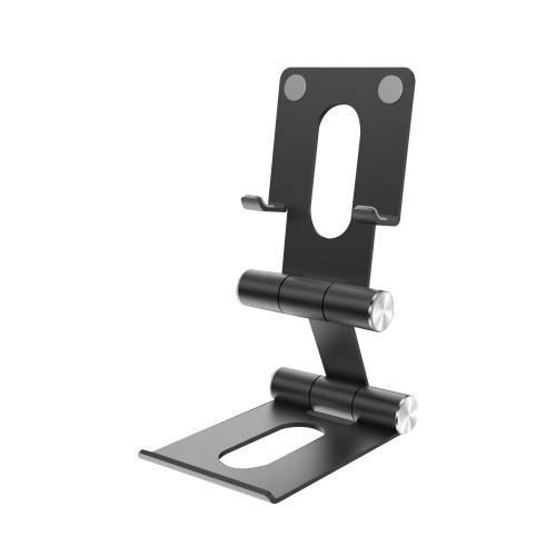 Desktop Bracket for Cellphone Multifunctional Dual Axis Folding Portable Metal Bracket Holder Suitable for Mobile Phone/Tablet Black