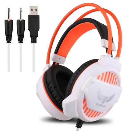 Ovann G1 Professional Esport Gaming Stereo Headset Baixo Fone de ouvido sobre a orelha 3,5 milímetros & USB com fios com microfone de luz LED para PC computador portátil